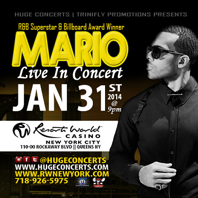 MARIO In Concert at the Resorts World Casino 1/31