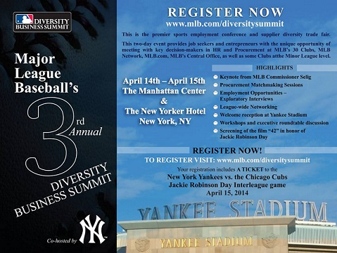 MLB & THE NY YANKEES TO CO-HOST 3rd ANNUAL MLB DIVERSITY BUSINESS SUMMIT