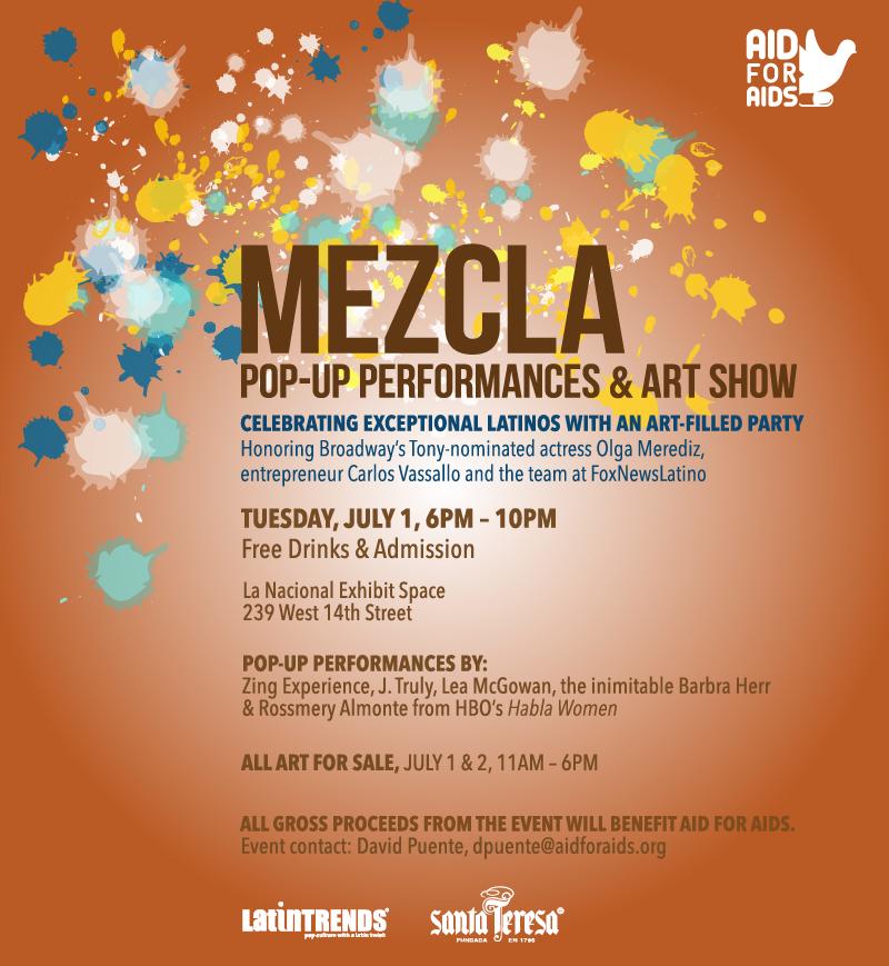 "LatinTRENDS and AID FOR AIDS present ""MEZCLA Pop-Up Performances & Art Show"""
