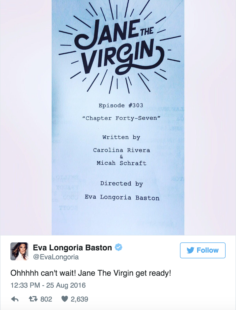 "Eva Longoria Directing ""Jane the Virgin"""