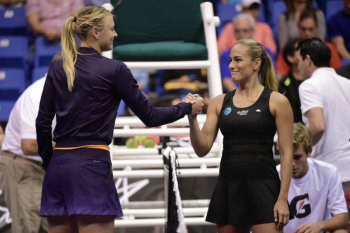 Monica Puig and Maria Sharapova Share Gift of Giving In Exhibition
